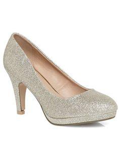 Evans NATALIA Champagne Glitter Platform Court - View All Shoes - Shoes