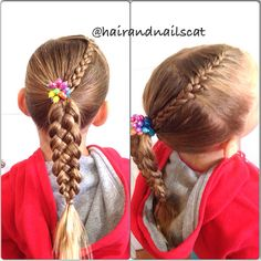 French braid into five strand ponytail