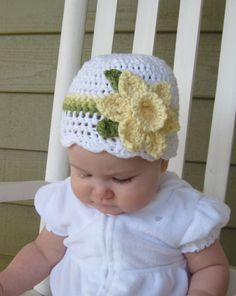 Crocheted Daffodil Hat! Just too cute! $25. no free pattern