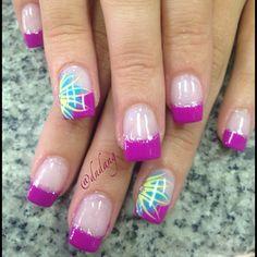 nail tips french Ring Finger French Nails, French Acrylic Nails, Fabulous Nails, Gorgeous Nails, Pretty Nails, Nail Art Designs, French Nail Designs, Floral Designs, Spring Nails