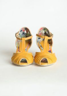 low heel, favorite color, and perfect era gone by vibe By Chelsea Crew In Mustard | Modern Vintage Shoes
