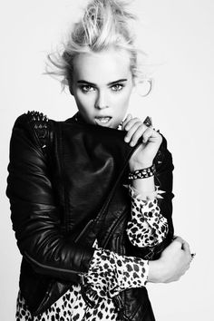 ✭    blonde   leather   studs   detail   leopard print   bw   model