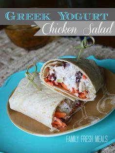 Gorgeous, fast & healthy ---> Greek Yogurt Chicken Salad via Family Fresh Meals #clean