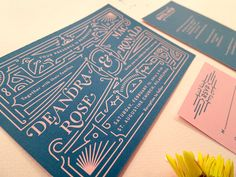 Wedding Invitation Set with RSVP – Vintage Inspired, Recycled, Eco Friendly – Dee & Mac SAMPLE