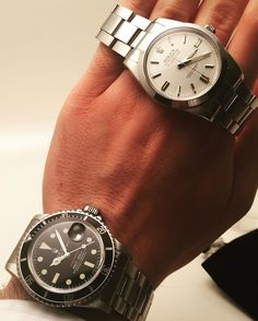 Perfect Condition is The Key of Having A Nice Vintage Watch: Rolex Submariner 1680 x Rolex Milgauss 1019.   By: antoine.de.macedo #rolex #submariner
