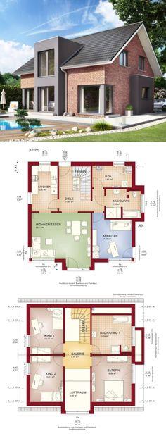 Modernes Haus mit Galerie, Klinker Fassade und Satteldach - Fertighaus Grundriss Celebration 150 V4 Bien Zenker - HausbauDirekt.de