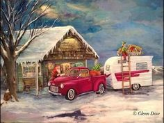 RV'n Santa and his crew. Merry Christmas, Snoopy Christmas, Christmas Truck, Christmas Scenes, Christmas Home, Vintage Christmas, Xmas, Christmas Items, Christmas Wishes