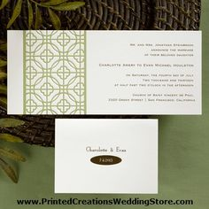 Green Retro invitation by Carlson Craft featuring olive green design - see many more green wedding invitations at www.PrintedCreationsWeddingStore.com.