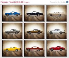 FLASH SALE til MIDNIGHT Vintage Muscle Cars Set of Nine Canvas Prints, Nursery Decor, Rustic Decor , Boys Wall Art, Car Prints, Boys Wall Ar