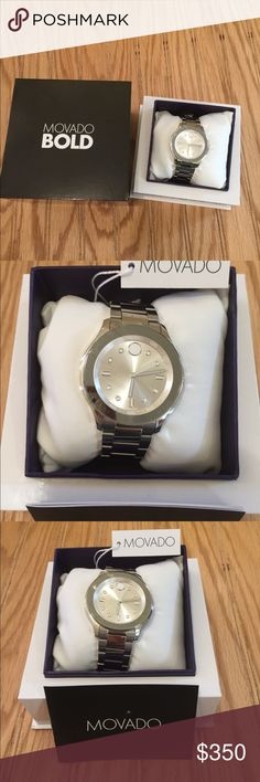 NWT In Box Movado Bold Silver Watch Beautiful Movado with markers in white. Brand new with tag in box  I would say unisex Movado Accessories Watches