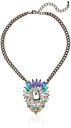 """Resin and Crystal Fancy Deco Short Pendant Statement Necklace, 16"""" Amazon Collection http://www.amazon.com/dp/B00GRLA72W/ref=cm_sw_r_pi_dp_FsZevb0AGYJX9"""
