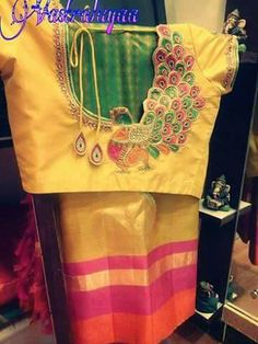 Designer blouses Peacock Blouse Designs, Sari Blouse Designs, Bridal Blouse Designs, Designer Blouse Patterns, Blouse Styles, Peacock Design, Saris, Silk Sarees, Blouse Desings