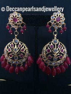 Earrings 98510: Hyderabadi Chandbali In Rubies Indian Pakistani Jewellery -> BUY IT NOW ONLY: $40 on eBay!