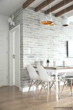 10 Strategies to Apply White Brick Wall in Various Rooms – Home Design Brick Tile Wall, Faux Brick Walls, White Brick Walls, Brick Accent Walls, Wall Tiles, Brick Interior, Interior Walls, Living Room Interior, Living Room Decor