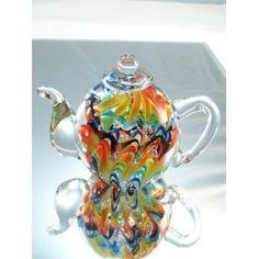Murano Design Hand Glass Rainbow Pattern Teapot Art Sculpture PP-206 / K-039