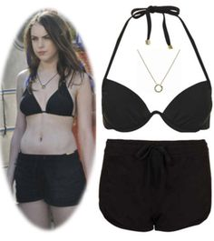 """REQUESTED: Jade West's second outfit in, """"Survival of the hottest."""" Bikini Top Shorts Necklace"""