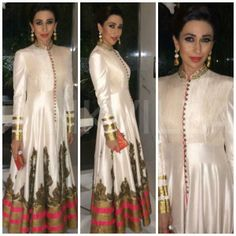 Karisma Kapoor attended an award ceremony in Delhi wearing a lovely Shantanu & Nikhil creation. She teamed this with jewellery from Curio Cottage. Traditional Fashion, Traditional Dresses, Indian Attire, Indian Wear, Indian Style, Pakistani Outfits, Indian Outfits, Karisma Kapoor, Desi Clothes