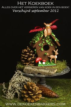chocolate cookie bird house from Dutch cookie book: Het Koekboek Gingerbread Crafts, Christmas Gingerbread House, 3d Christmas, Christmas Goodies, Christmas Decorations, Gingerbread Houses, Christmas Houses, Christmas Cooking, Christmas Recipes