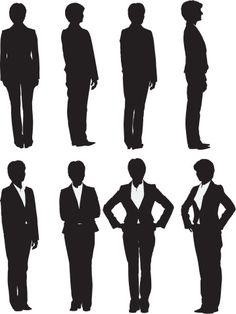 Vectores libres de derechos: Multiple images of a businesswoman posing