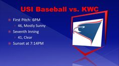 Baseball takes on KWC this evening at USI. 46 and mostly sunny at the first pitch, then clearing and near 40 by the 7th Inning.