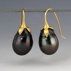 Quadrum - Gabriella Kiss Jewelry, Tahitian Pearl Eggplant Earrings - Love!