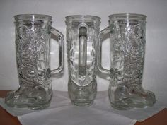 "Boot Stein Western Cowboy Ornate Design Clear Glass Beer Mug 8"" Tall Vintage Old 