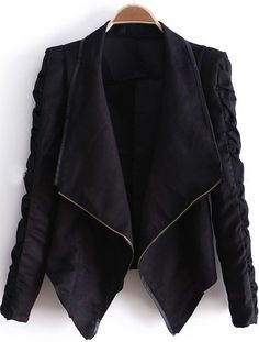 Black Lapel Long Sleeve Zipper Drawstring Crop Coat - Sheinside.com  Xs/s