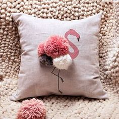 Cute Cushions, Pink Cushions, Scatter Cushions, Glamour Décor, Kids Pillows, Throw Pillows, Pom Pom Wreath, Diy Cushion, Bedroom Themes