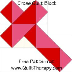 Countdown to Christmas Cross Quilt Block – Quilt Therapy Machine Quilting Patterns, Barn Quilt Patterns, Pattern Blocks, Quilting Ideas, Free Quilt Block Patterns, Quilting Templates, Rug Patterns, Christmas Quilt Patterns, Christmas Quilting