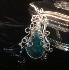 Filigree Sterling Silver Wire Wrapped Chrysocolla Pendant by Esther Destiny's Jewelry