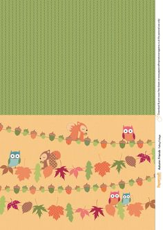 Free freebie printable background patterned paper: Autumn fall owls