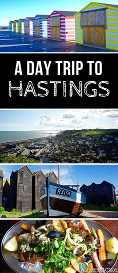 A Day Trip To Hastings, South East England. Candy coloured beach huts, a funicular railway, top seafood, an old high street lined with independent stores, and hidden gems galore – Hastings ticks every box on the seaside day trip list! https://www.wanderlu
