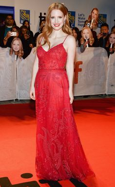 JESSICA CHASTAIN in a Zuhair Murad gown with Piaget jewels at the Woman Walks Ahead premiere at the Toronto International Film Festival in Toronto.