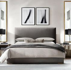 RH's Lawson Panel Non-Tufted Fabric Bed (Some sort of upholstered bed frame like this - simple, soft, no metal detailing) Contemporary Bedroom, Modern Bedroom, Bedroom Classic, Home Bedroom, Bedroom Decor, Bedroom Ideas, Restoration Hardware Bedroom, Luxury Bedding Sets, House Beds