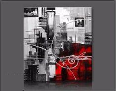 Tableaux design abstrait carré gris rouge EJRAC