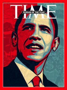TIME Magazine person of the year 2008. One of the most influential and well known posters on a cover. The graphic element makes unrealistic with personal combined. Minimal colour pallette emphasizes the colours that are utilized - symbolic to America (red, white and blue). Very centralized and bold image. Layout = one dominant element, no distractions and draws attention.