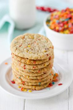 Fruity Pebbles sugar cookies are the chewy, fruity cookie you never knew you loved. They're perfect for spring!