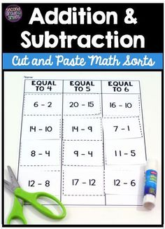This set of 27 cut and paste math sorts includes everything you need to help your first grade or second grade students develop fluency with addition and subtraction within These hands-on activities are great for use as printable cut and paste centers Teaching Second Grade, Second Grade Math, Teaching Math, Grade 1, Teaching Ideas, Singapore Math, Math Classroom, Classroom Ideas, Math Workshop