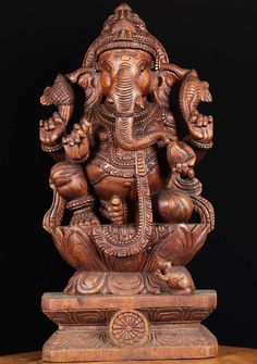 """Shri Ganesh! View the Wooden Ganesha Carving 24"""" at Hindu Gods"""