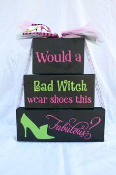 Would a Bad Witch Wear Shoes this Fabulous Halloween Wood Block Stack - Shelf Sitters