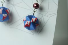 $36, periwinkle, pink, and white washi origami modular earrings