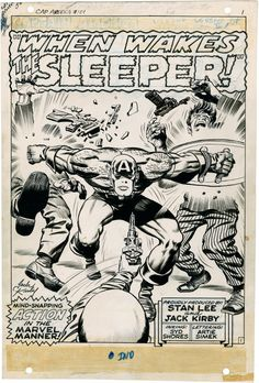 Captain America splash page in ink by Jack Kirby