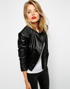 ASOS Leather Asymmetric Mixed Quilted Biker