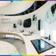 This exhibit we created for Ooma's Telo internet phone service showcased how they integrate with a variety of partners. Their exhibit at CES demonstrated how Ooma's products are the communication hub for a smart home.