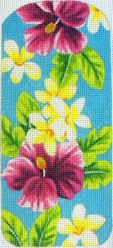 "Needlepoint Eyeglasses Case Tropical Aqua by Kirk & Bradley Style: KB125 Size: 3"" x 6.75"" Mesh: 18"
