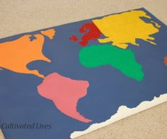 Global Twister is a great idea for learning activities for children that teaches the location of the continents! Make amazing homemade games for kids into a geography lesson with this hands-on game for kids.