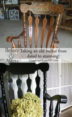 Dated rocking chair gets a before and after makeover with black painted rocking chair, before and afters, DIY.