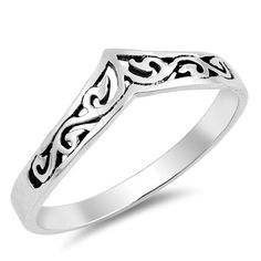 CHEVRON Scroll Band Ring - .925 STERLING Silver (338) #Unbranded #Band