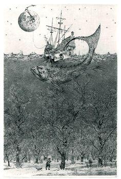 Konstantin Kalynovych - Flight to Nowhere. (etching, dry point)