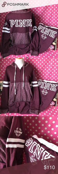 """🚫SOLD🚫🆕NWT PINK orchid full zip hoodie & pants 💖Thanks for shopping at Candy Land!💖  ✅NWT VS PINK orchid full zip hoodie & matching gym pants.   ‼️PRICES ARE FIRM ~ My items are priced at the lowest already. Please do not ask """"lowest"""". Remember Posh takes a fee 😩.    ⭐️LOTS OF NWT VS PINK items for sale on my page! ⛔️PLEASE NOTE: NWT= New with tags OR New in online bag. PINK online orders come in bags with NO tags.  🚫NO HOLDS   🚫NO MODELING 🚫I DON'T TRADE ✋LOWBALLS WILL BE IGNORED…"""